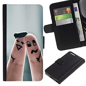 LECELL--Cuero de la tarjeta la carpeta del tirón Smartphone Slots Protección Holder For Apple Iphone 6 PLUS 5.5 -- Dedo Pares lindos --
