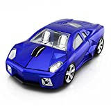 Red 3D USB 2.4GHz Wireless Optical Cool Sports Car Mouse 1600DPI High Tracking Speed Wireless Mice for Computer Laptop (Blue)