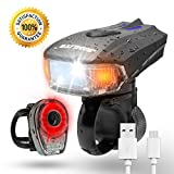 Best USB Rechargeable LED Bike Light Set – SAMLITE TRIP-LIT SUPER BRIGHT 400 Lumens Headlight - LED Front Light with FREE LED Tail Light Set, Two USB Charging Cables Included for Safety Cycling