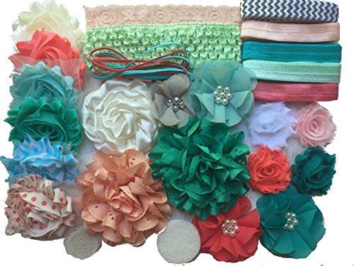 Bowtique Emilee Headband Kit DIY Headband Kit makes over 15 Headbands - Coral and Mint Mini -