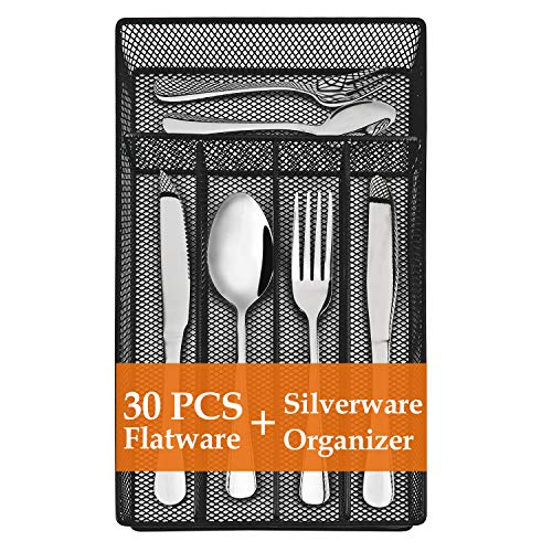 30 Piece Silverware Set, Flatware Utensils Set Mirror Polished, Dishwasher Safe Service for 4, Include Knife/Fork/Spoon/Steak knife/Tea Spoon/Tea Fork/Wire Mesh Steel Cutlery Holder Storage Trays