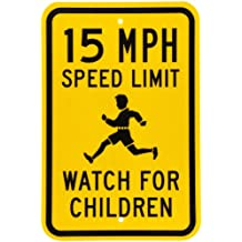 "SmartSign Fluorescent Diamond Grade Reflective Aluminum Sign, Legend ""15 MPH Speed Limit Watch for Children"", 18"" high x 12"" wide, Black on Yellow"