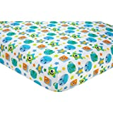 HT Beautiful White Blue Green Monsters on the Go Fitted Crib Sheet, Disney Themed Nursery Bedding, Infant Child Toddler Stars Mike Sully Cartoon Animated Movie Cute Adorable, Polyester