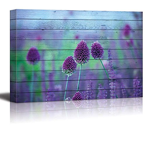 Vibrant Purple Flowers Blooming Over Wood Panels