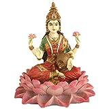 Lakshmi on Lotus Goddess of Wealth Statue, Color Details