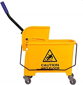 Ridgeyard 21Quart(5.28 Gallon) Side Press Mop Bucket with Wringer 4 Wheels Yellow Color Combo Bucket for Home Use