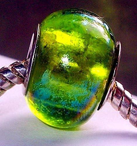Pink Green Blue Pattern Murano Glass Bead fits Silver European Charm Bracelets Fashion Jewelry for Women Man