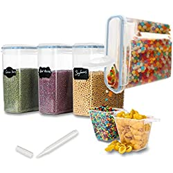 Larger 4L/135.2OZ Airtight Food Storage Containers-4 Pack, Mokaloo Leakproof Seal Lids Large Food Storage Containers in Bpa-Free Plastic, Suitable for Cereal, Flour, Sugar & More -With 16 pcs Chalkboa