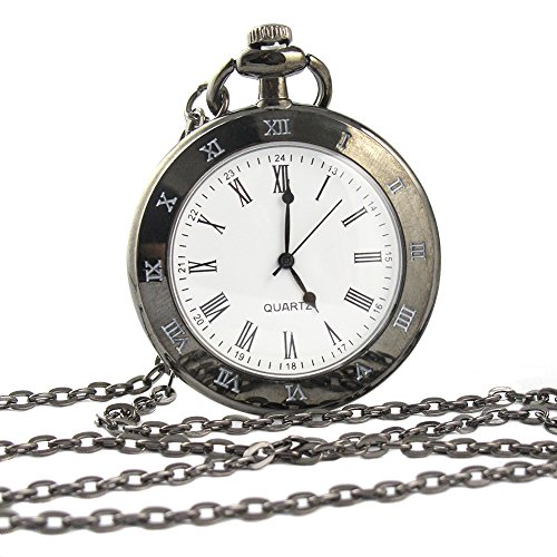 Youyoupifa Men's Stainless Steel Case White Dial Roman Numerals Modern Pocket Watch with Chain (Black) (Roman Numeral Pocket Watch)