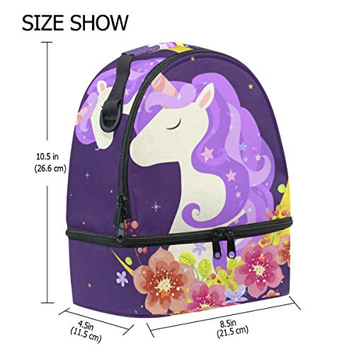 el el de diseño luna mágico para unicornio Bolsa para y hombro almuerzo térmica ajustable con con Alinlo correa q0aYta