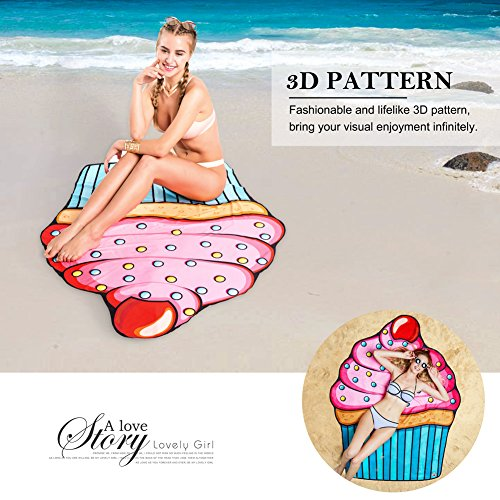 Vibger Cute Cupcake Tapestry Travel Picnic Tablecloth Quick Dry Yoga Mat Beach Bikini Cover Up Beach Throw (Cupcake)