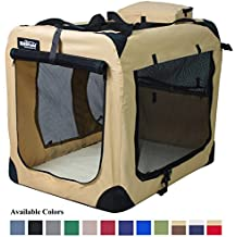 """EliteField 3-Door Folding Soft Dog Crate, Indoor & Outdoor Pet Home, Multiple Sizes and Colors Available (42""""L x 28""""W x 32""""H, Beige)"""