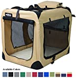 EliteField 3-Door Folding Soft Dog Crate, Indoor & Outdoor Pet Home, Multiple Sizes and Colors Available (20'L x 14'W x 14'H, Beige)