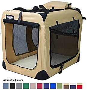 """EliteField 3-Door Folding Soft Dog Crate, Indoor & Outdoor Pet Home, Multiple Sizes and Colors Available (36""""L x 24""""W x 28""""H, Beige)"""