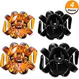 Bememo 4 Pieces Large Grip Octopus Clip Spider Hair Claw Octopus Jaw Hair Claw Clips for Thick Hair (6.5 cm and 7.7 cm, Brown and Black)