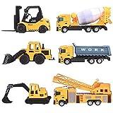 deAO Camiones de Construcción Conjunto a Escala 1:64 Vehículos de Obras Multifuncionales Diseño y Movimientos Realistas…
