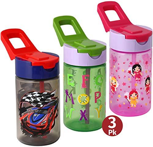 Water Bottles With Straw For Kids – 3 Pack Kids Drink Bott
