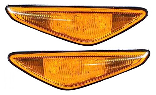 Side Markers Repeater Lights Amber Left & Right Pair Set for BMW 325Ci 330Ci (Side Repeater Amber)