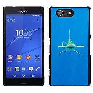 EJOY---Cubierta de la caja de protección para la piel dura ** Sony Xperia Z3 Compact ** --agua de mar tropical tiburón buceo océano