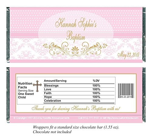 Baptism Pink Polka Dot and Damask Candy Bar Wrappers, Personalized (set of (Custom Chocolate Bar Wrappers)
