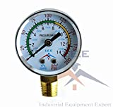 "Air Compressor Pressure/Hydraulic Gauge 2"" Face Side Mount 1/4"" NPT 0-200 PSI"