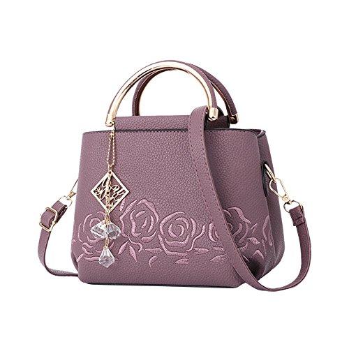 Imitation Diamond Pendant Women Hand Bag Faux Leather With Black Shoulder Strap Dark Purple