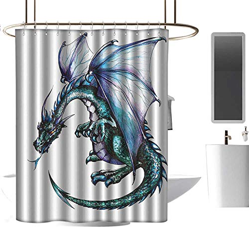 (shower curtains for bathroom polyester Dragon Decor Collection,Epic Beast Dragon Created with Vibrant Gradient Colored Graphic Work Ethnic Devil Image,Teal Purple Decoration Cozy Lovely Decor Pleasing)