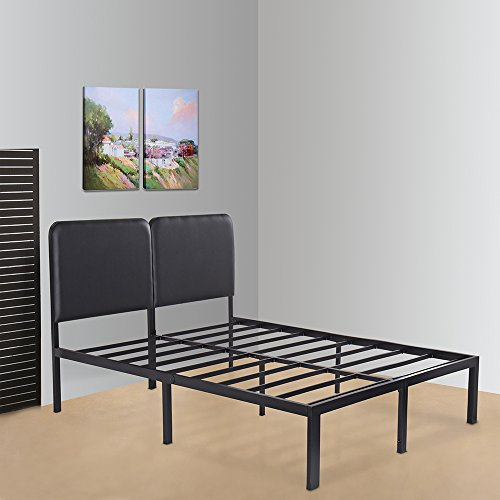 Olee Sleep 14 Inch T-3000 Heavy Duty with Faux Leather Headboard Bed Frame 14BF05Q
