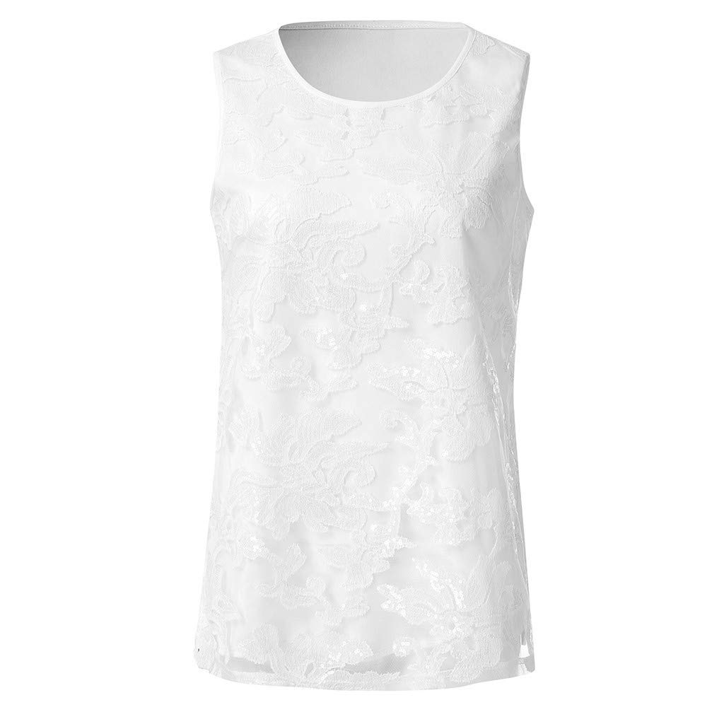 Buy Women's Solid Sequined Round Neck Vest Top Short Sleeve