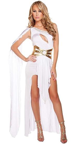 FUNFSEX Disfraz de Diosa Griega Romana Sexy Blanco Negro Disfraz de Princesa Griega de Lujo Disfraces