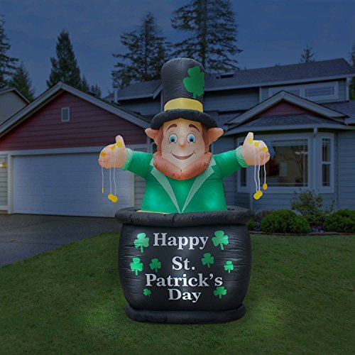 Holidayana St Patricks Day Inflatable Giant 9 Ft. St. Patrick In Pot Of Gold Inflatable Featuring Lighted Interior / Airblown Inflatable St. PatrickÕs Day Decoration With Built In Fan And Anchor Ropes
