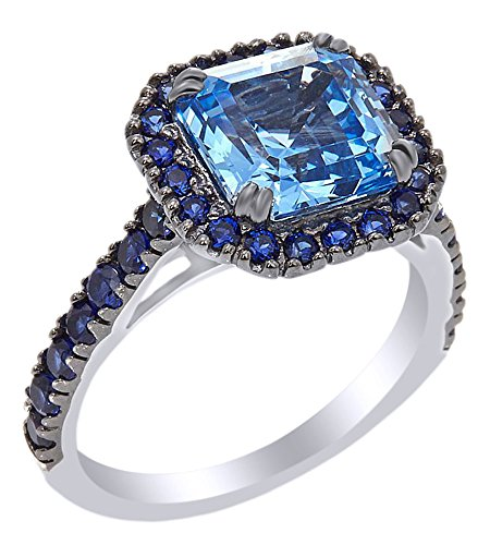 White Sapphire Frame Ring - AFFY Square & Round Cut Simulated Blue Sapphire Frame Ring In 14k White Gold Over Sterling Silver (4.44 cttw) Ring Size-10.5