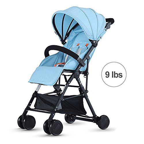 SpringBuds Baby Lightweight Stroller Easy to Fold Toddler Portable Pushchair for Travel-Light Blue