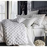 """White cotton duvet cover king & queen size puckered. (104""""W X 90""""L)"""