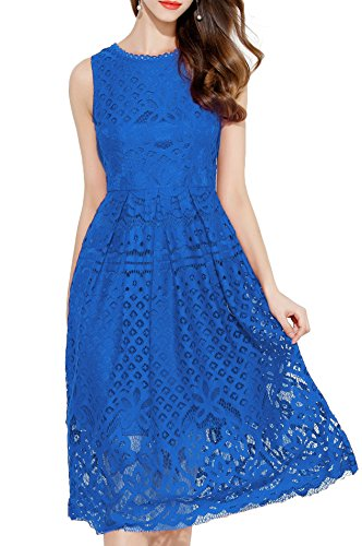 VEIISAR Womens Fashion Sleeveless Lace Fit Flare Elegant Cocktail Party Dress