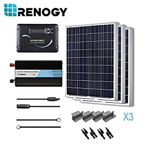 RENOGY 300 Watts 12 Volts Polycrystalline Solar Battery Ready Kit with PWM LCD Display Charge Controller