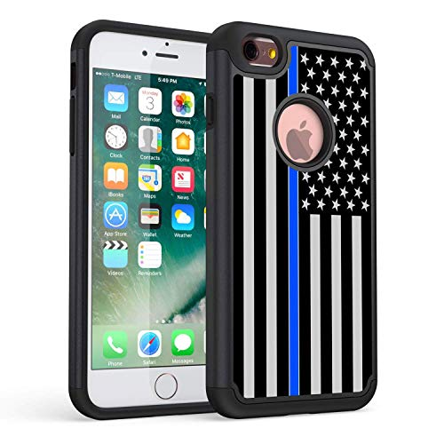 iPhone 6s Plus Case,Rossy Thin Blue Line US Flag Design Shock-Absorption Hard PC and Soft Silicone Dual Layer Hybrid Armor Defender Protective Case Cover for iPhone 6 Plus/iPhone 6s Plus (5.5 inch)