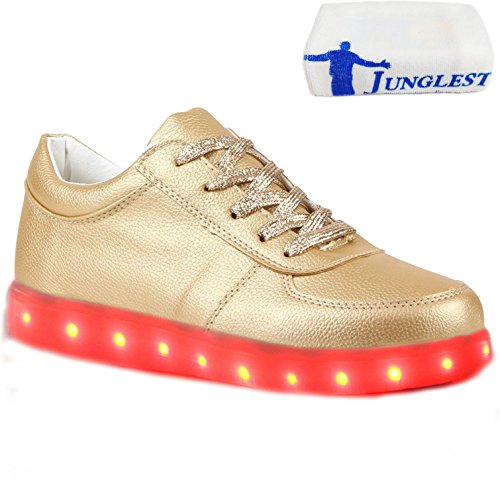 (Present:kleines Handtuch)JUNGLEST Blinkende Damen Sneakers High Led Light Fa Gold
