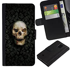 Ihec-Tech / Flip PU Cuero Cover Case para Samsung Galaxy S5 Mini, SM-G800, NOT S5 REGULAR! - Design Skull Pattern