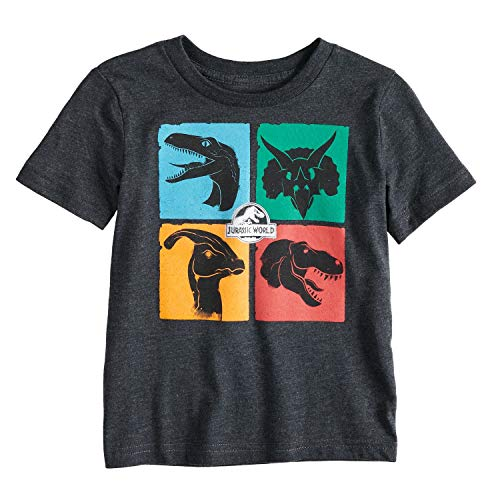 Jumping Beans Toddler Boys 2T-5T Jurassic World Colored Squares Graphic Tee 4T Charcoal ()