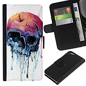 KingStore / Leather Etui en cuir / Apple Iphone 6 / Manzana de la acuarela del arte del cráneo de la muerte