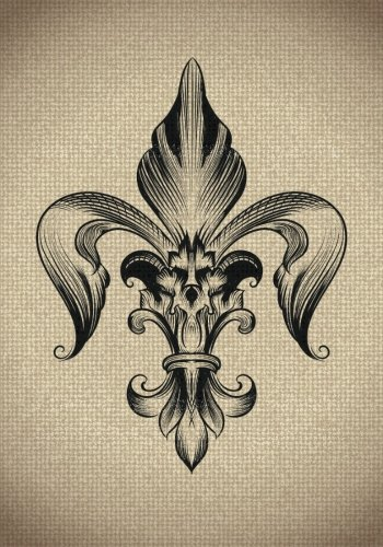 Fleur De Lis Notebook: 7 x 10 Inch Notebook/Journal with Burlap Art Cover