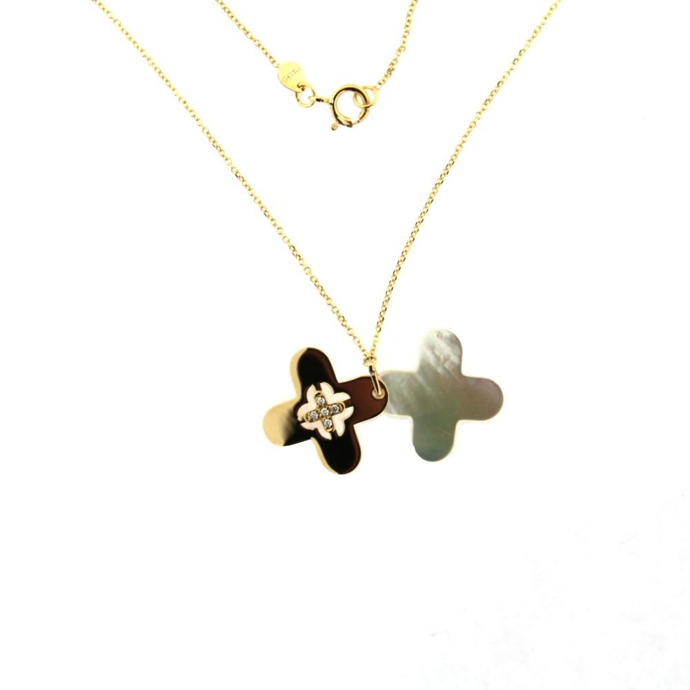 18K Yellow Gold Diamond Cross and Mother of Pearl Pendant with 16 inch chain DI=0.02 tt ct by Amalia (Image #2)