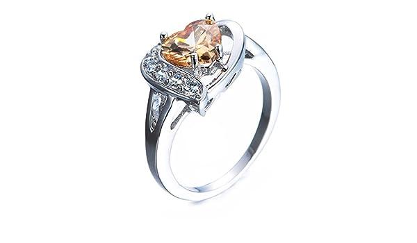 F/&F-Stars Elegant White Zircon Crossed White Fire Opal Heart Rings Fashion Jewelry for Women Wedding Engagement Rings