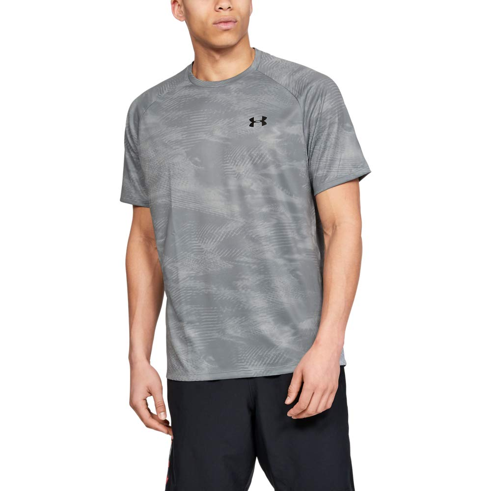 Under Armour Tech Printed Short-sleeve Shirt, Mod Gray (016)/Black, XX-Large by Under Armour