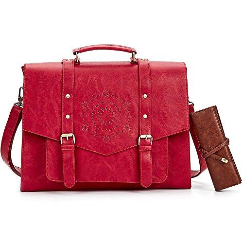 Red Laptop Bag -  SOSATCHEL Women Leather Messenger Laptop Shoulder Bag Briefcase Satchel Purse Handbag Fit 15.6 Inch Notebook