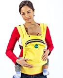 Mo+m Ergonomic Baby Sling Carrier w/ Mesh Cooling Vent, Hood & Pockets (Pale Yellow)