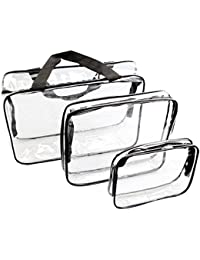 3 Set Clear Packing Cubes, PVC Waterproof Multi-function Hand Pouch Tote Bag Makeup Bag with Zipper and Travel to Buggy Bag for Toiletries Cosmetic and Bathroom Accessories