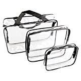 ESHOW 3 Set Clear Packing Cubes, PVC Waterproof Multi-function Hand Pouch Tote Bag Makeup Bag with Zipper and Travel to Buggy Bag for Toiletries Cosmetic and Bathroom Accessories (black)