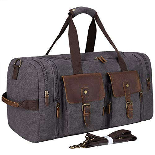 S-ZONE Vintage Canvas Geniune Leather Trim Travel Tote Duffel Bag with Shoes Pouch